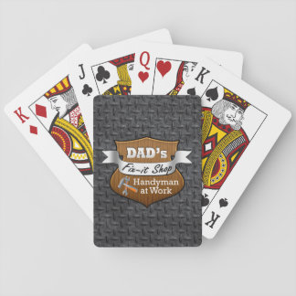 Funny Dad's Fix-it Shop Handy Man Father's Day Poker Cards