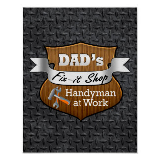 Funny Dad's Fix-it Shop Handy Man Father's Day Poster