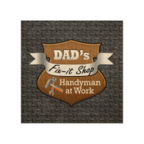 Funny Dad's Fix-it Shop Handy Man Father's Day Wood Wall Decor