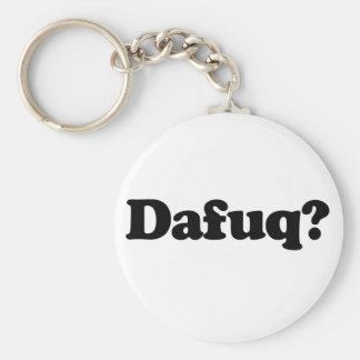 Funny dafuq humor basic round button keychain