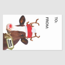Funny Dairy Cow in Xmas Costume Gift Tag