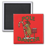 Funny Dancer Christmas Reindeer Pun 2 Inch Square Magnet
