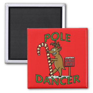 Funny Dancer Christmas Reindeer Pun 2 Inch Square Magnet