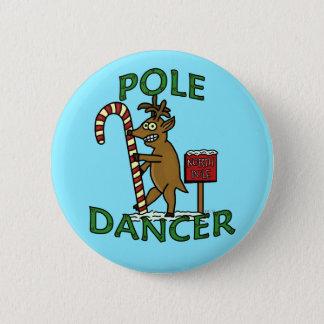 Funny Dancer Christmas Reindeer Pun Blue Pinback Button