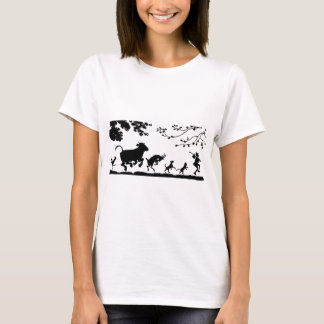 Funny Dancing Animals Cow Chicken Goat Silhouette T-Shirt