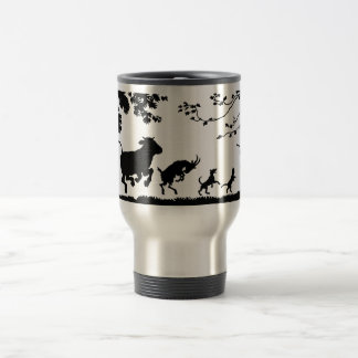 Funny Dancing Animals Cow Chicken Goat Silhouette Travel Mug