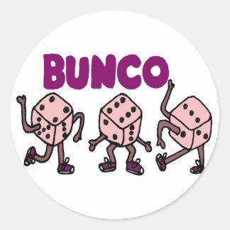 Funny Dancing Bunco Dice Classic Round Sticker