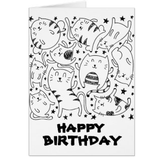 Funny dancing cats doodles happy birthday card