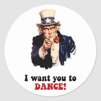 Funny dancing classic round sticker