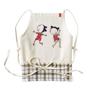 funny dancing girl twins zazzle HEART apron