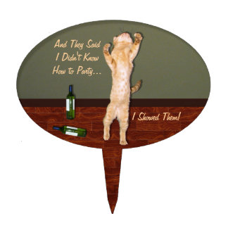 Funny Dancing Orange Party Cat Cake Topper