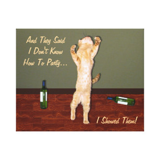 Funny Dancing Orange Party Cat Canvas Print