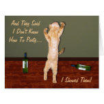 Funny Dancing Orange Party Cat Card