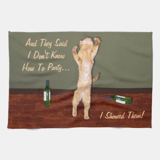 Funny Dancing Orange Party Cat Kitchen Towel