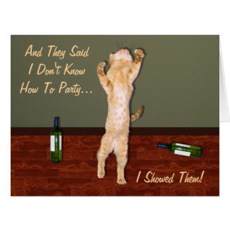 Funny Dancing Orange Party Cat Large Greeting Card
