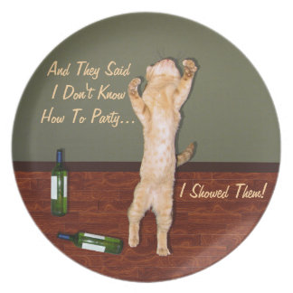 Funny Dancing Orange Party Cat Plates