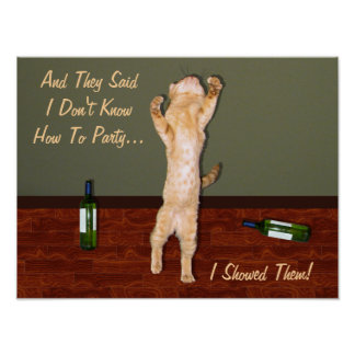 Funny Dancing Orange Party Cat Poster