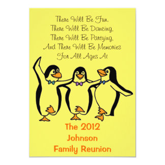 Funny Dancing Penguins Festive Family Reunion Card