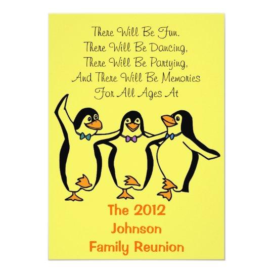 Funny Dancing Penguins Festive Family Reunion Card