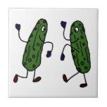 Funny Dancing Pickles Art Ceramic Tile