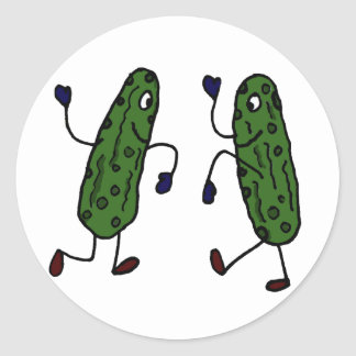Funny Dancing Pickles Art Classic Round Sticker