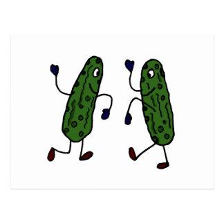 Funny Dancing Pickles Art Postcards