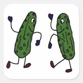 Funny Dancing Pickles Art Square Sticker