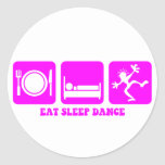 Funny dancing round stickers