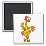 Funny Dancing Rubber Chicken 2 Inch Square Magnet