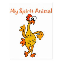 Funny Dancing Rubber Chicken Spirit Guide Postcard