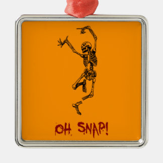 Funny Dancing Skeleton Oh Snap Square Metal Christmas Ornament