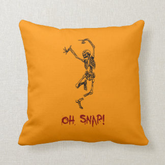 Funny Dancing Skeleton Oh Snap Throw Pillow