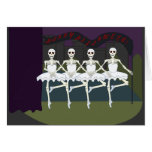 Funny Dancing Skeletons Ballerina Tutu Halloween Greeting Card