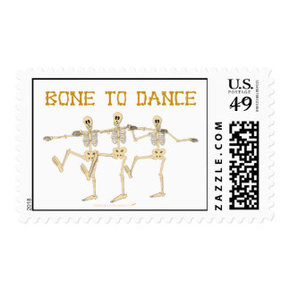 Funny Dancing Skeletons Bone To Dance Cartoon Stamps