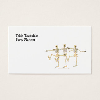 Funny Dancing Skeletons Halloween Cartoon Business Card