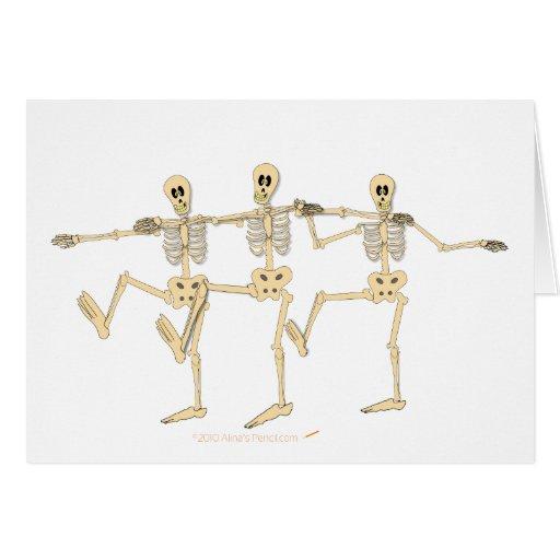 Funny Dancing Skeletons Halloween Cartoon Greeting Card