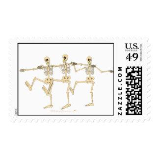 Funny Dancing Skeletons Halloween Cartoon Postage