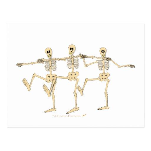 Funny Dancing Skeletons Halloween Cartoon Post Card