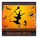 Funny Dancing Witch and Cat Halloween Party Card