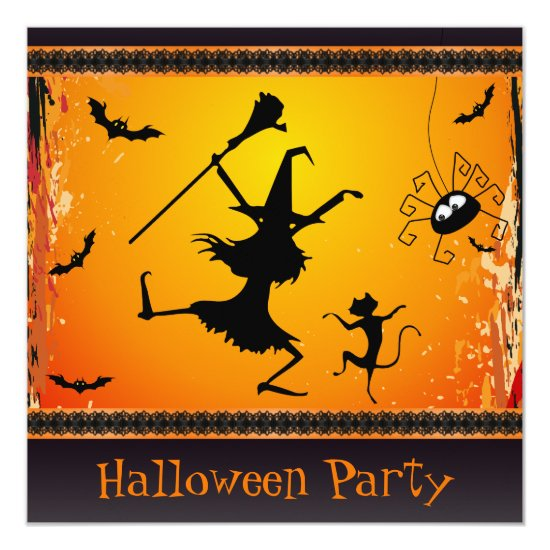 Funny Dancing Witch and Cat Halloween Party Invitation