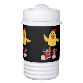 Funny Dancing Yellow Chicken Beverage Cooler