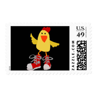 Funny Dancing Yellow Chicken Postage