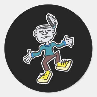 funny dancing zombie round sticker
