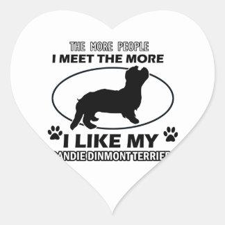 Funny dandie dinmont terrier designs heart sticker