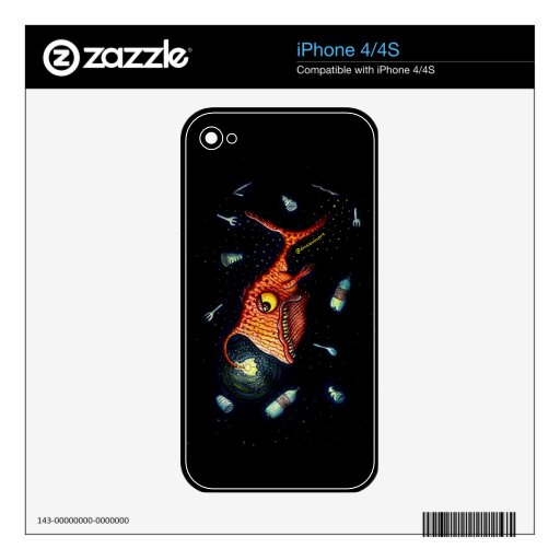 Funny Dark Anglerfish Against Plastic Pollution Decal For iPhone 4
