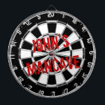 "Funny dartboard for men with a grungy mancave<br><div class=""desc"">Funny dartboard for men with a grungy mancave. Distressed black and white dart board with personalized text. Cool manly gift idea for men with humor. Vintage style design.</div>"