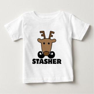 funny dasher stasher mustache reindeer baby T-Shirt