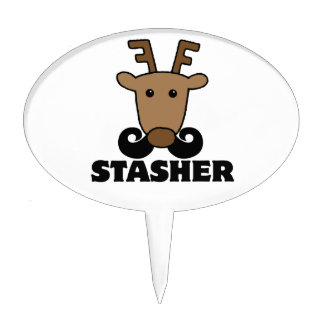 funny dasher stasher mustache reindeer oval cake pick