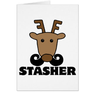 funny dasher stasher mustache reindeer greeting cards
