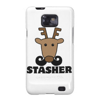 funny dasher stasher mustache reindeer samsung galaxy SII cover